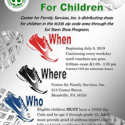 free school shoes & socks for children in need every July